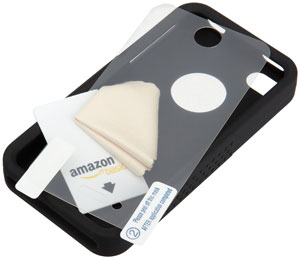 The AmazonBasics Silicone Case and Screen Protectors for iPhone 4