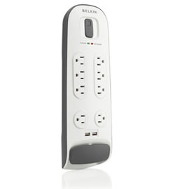 Eight-Outlet Surge Protector with 6-Foot Power Cord and Two USB Ports