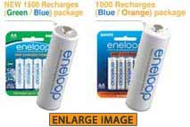 Genuine eneloop 1800 and 1000 packages