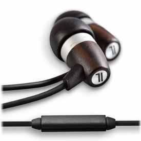 Fi M Acoustic - Natural Ebony Wood and Metal Fusion Earphones with Mic
