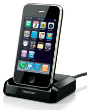 The optional UP-A1 dock for iPhone/iPod