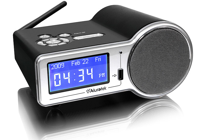 aluratek airmm01f internet radio alarm clock with built in wifi black discontinued by. Black Bedroom Furniture Sets. Home Design Ideas