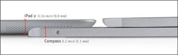 iPad Silver Compass Dimensions