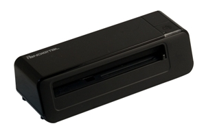 The PhotoLink Scanner is about the size of a laptop power brick