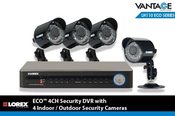Lorex ECO 4 Channel Security DVR with 4 Indoor/Outdoor Security Cameras