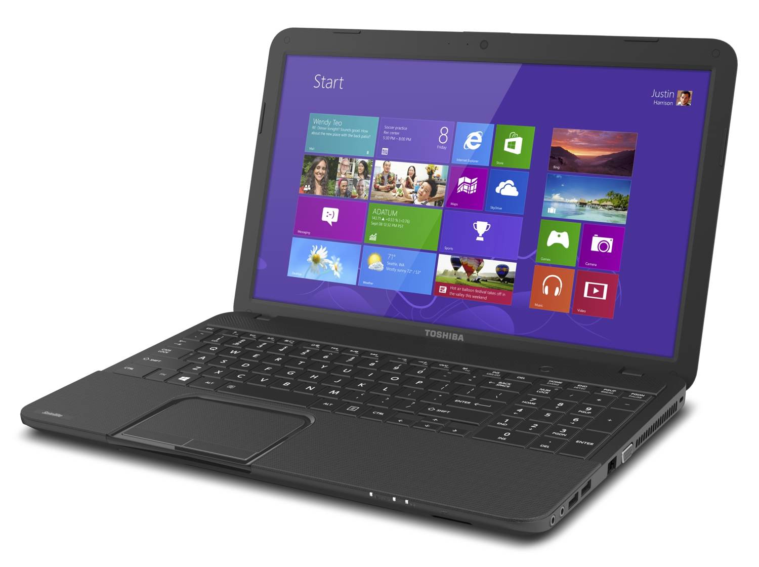 The Toshiba Satellite C855, powered by Windows 8 ( view larger ).
