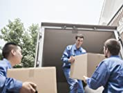 Moving Services with Three Movers, Truck, and Boxes