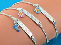 Personalized Sterling Silver Kids Bracelet with Pendant