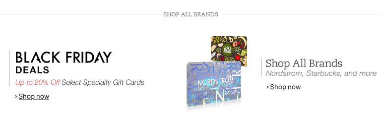 Black Friday Deals in Specialty Gift Cards