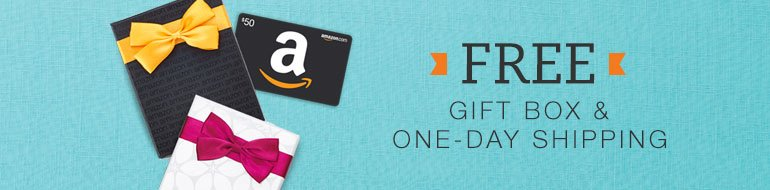 Amazon.com Gift Cards are redeemable for millions of items storewide, have no fees, and never expire. Send gift cards by email, printing at home, or mail with Free One-Day Shipping. Features include animated gift cards, use your own photo, suggest an item, send in a free gift box, or buy in bulk.