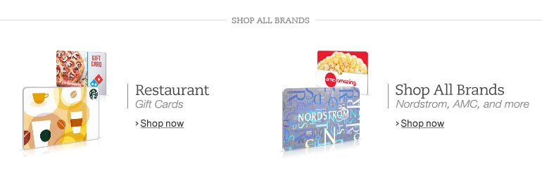 Shop All Brands of Gift Cards