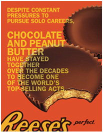Reese's chocolate peanut butter top selling acts.