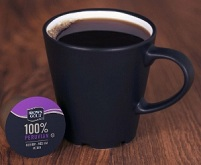 Brown Gold Peruvian coffee in cup.