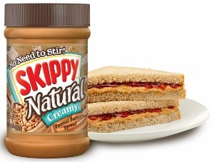 Skippy Natural Peanut Butter with sandwich.