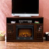 Combines the function of a fireplace and an entertainment center in one unit.