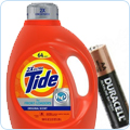Household Supplies: Laundry detergent, cleaners, batteries, light bulbs