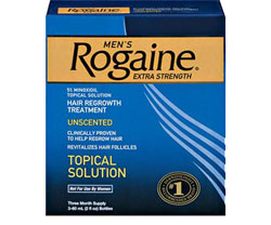 ROGAINE [E2]for Men Hair Regrowth Treatment, Extra Strength Original Unscented (Three-month Supply of Three 2-fluid-ounce Cans) Product Shot