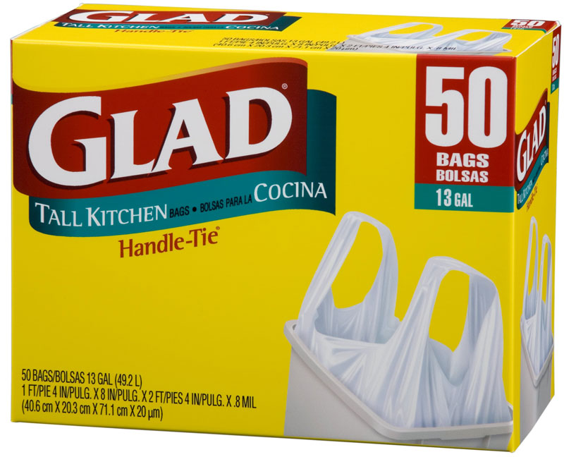 glad tall kitchen handle tie trash bags white 13 gallon 50 count pack of 4. Black Bedroom Furniture Sets. Home Design Ideas