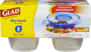GladWare Mini Round Reusable Plastic Containers, 8-Count Package of 4-Ounce Containers and Lids (Pack of 12) Product Shot