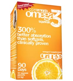 Coromega Omega3 Squeeze Packets, 30ct. - Orange Product Shot