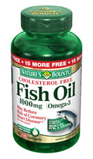 Nature 39 s bounty fish oil 1000 mg cholesterol free omega 3 for Is fish oil good for cholesterol
