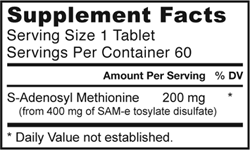 Jarrow Formulas SAM-e 200, 200mg, 60 Tablets Product Shot