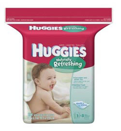 HUGGIES Naturally Refreshing Cucumber & Green Tea Baby Wipes Popup Refill, 184-Count Pack (Pack of 3) Product Shot