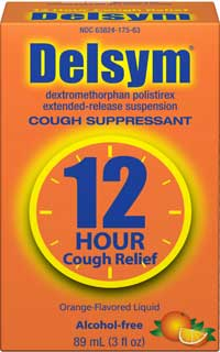 Delsym Adult Cough Suppressant Orange with Dosage Cup (3 Fluid Ounces). Product Shot