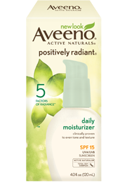 AVEENO POSITIVELY RADIANT Daily Moisturizer SPF 15 (4-Ounce Bottles) Product Shot