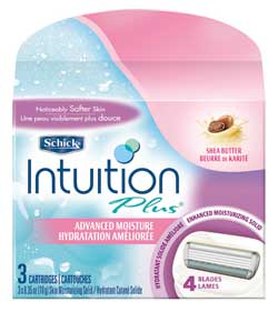 Schick Intuition Plus Advanced Moisture with Shea Butter, 3 Cartridges (2-Pack) Product Shot