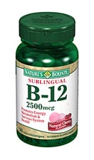 Nature's Bounty Sublingual B-12 2500 mcg (50 Microlozenges)