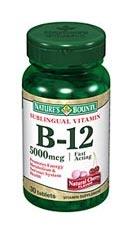 Nature's Bounty Sublingual Vitamin B-12 5000 mcg (30 Tablets)