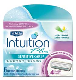 Schick Intuition Plus Refill Cartridges, Sensitive Care, 6 Cartridges (1-Pack) Product Shot