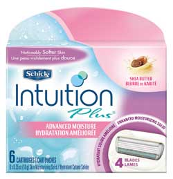 Schick Intuition Plus Advanced Moisture Refill Cartridges, 6 Cartridges (1-Pack) Product Shot
