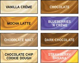 Available in Vanilla Crème, Chocolate, Mocha Latte, Blueberries 'N Crème, Chocolate Malt, Dark Chocolate, Chocolate Chip Cookie Dough, Strawberry Banana