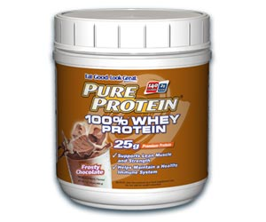 Pure Protein 100 Percent Whey Protein Powder - Frosty Chocolate (1 Pound)