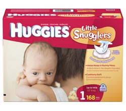 HUGGIES Little Snugglers Diapers, Size 1, 168-Count Product Shot