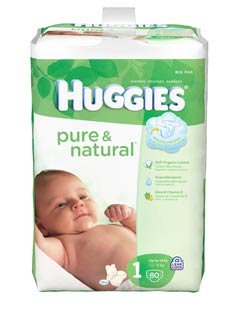 HUGGIES Pure & Natural Diapers, Size 1, 80-Count (Pack of 2) Product Shot