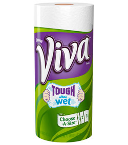 VIVA Big Roll Paper Towels, 88 Sheets per Roll, Choose-A-Size, White, 6 Count (Pack of 4) Product Shot