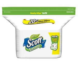 Scott Naturals Folded Flushable Moist Wipes, 102-Count Refill (Pack of 8) Product Shot