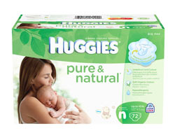 HUGGIES Pure & Natural Diapers, Newborn, 72-Count Product Shot