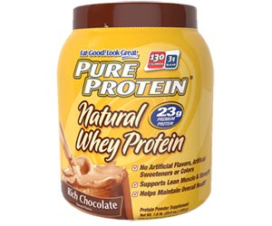 Pure Protein Natural Whey Protein Powder - Rich Chocolate