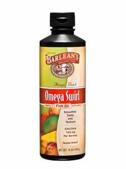 Barlean's Organic Oils Mango Peach Omega Swirl Fish Oil Product Shot