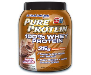 Pure Protein 100 Percent Whey Protein Powder - Frosty Chocolate (2 Pounds)