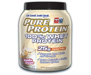 Pure Protein 100 Percent Whey Protein Powder - Vanilla Cream (2 Pounds)