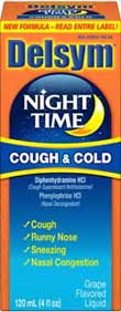 Delsym Adult Night Time Cough & Cold Cherry (4 Fluid Ounces) Product Shot