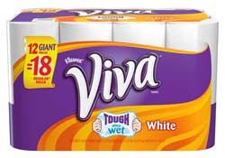 VIVA Giant Roll Paper Towels, 66 Sheets per Roll, White, 12 Count (Pack of 2) Product Shot