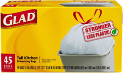 Glad Tall Kitchen Drawstring Bags, 13 Gallon, 45-Count Product Shot
