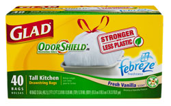 Glad OdorShield Tall Kitchen Drawstring Garbage Bags with Febreze Freshness, Vanilla Scent, 13 Gallon, 40-Count Product Shot