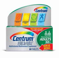 Centrum Silver Adult 50+ Multivitamin, 80 Count Bottle Product Shot